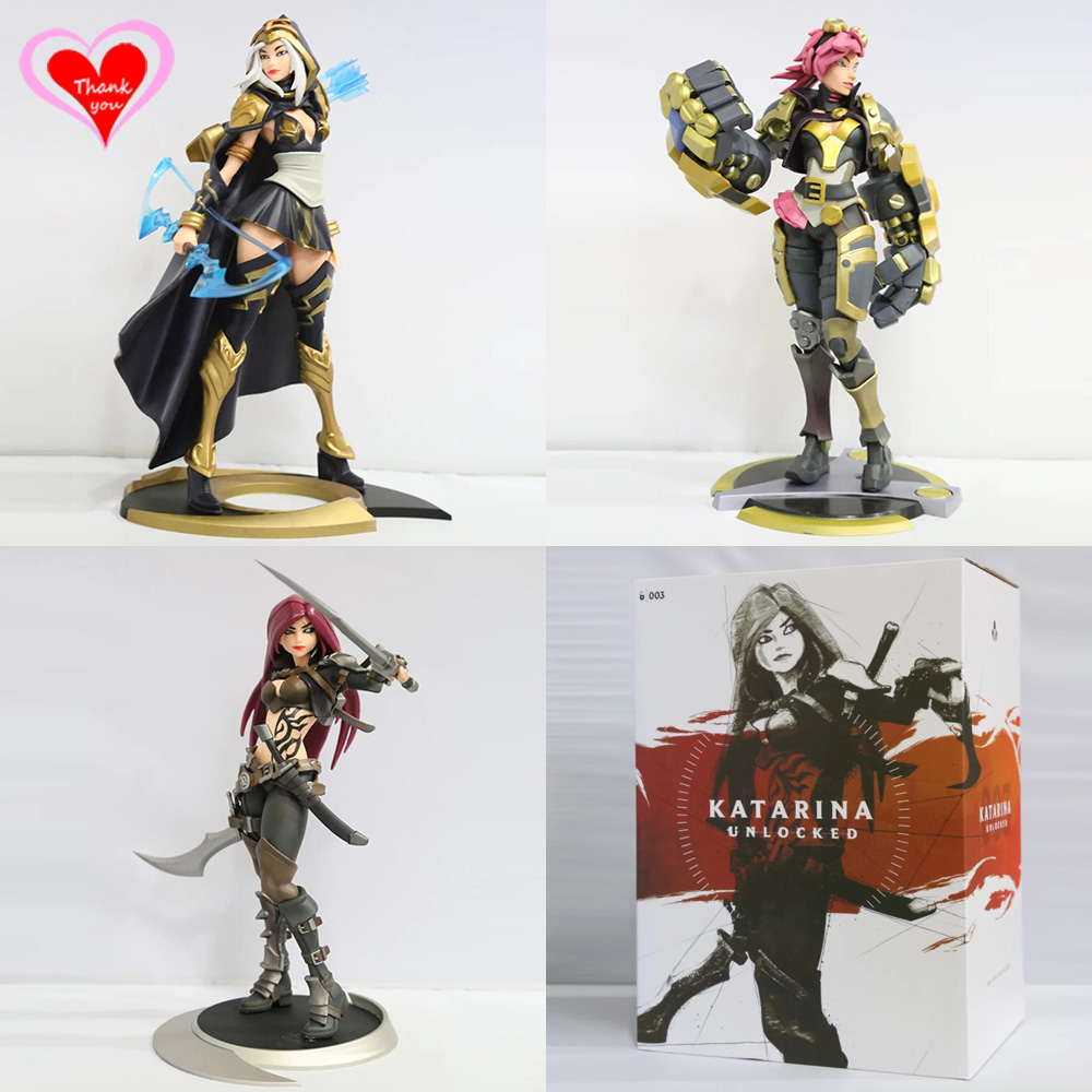 Love Thank You LOL The Piltover Enforcer Vi The Sinister Blade Katarina The Frost Archer Ash PVC Anime figure toy Model gift new