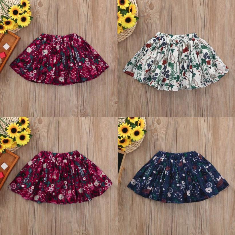 2018 new Child Cloth Kid Baby Girls Floral Printed Shorts Skirts Toddler Satin Outfits Summer Autumn Clothing