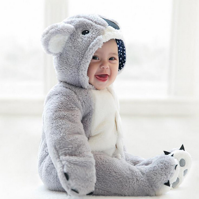 Image 2 - Loozykit Infant Romper Baby Boys Girls Jumpsuit Newborn Clothing Hooded Toddler Baby Clothes Cute Koala Romper Baby Costumes-in Rompers from Mother & Kids