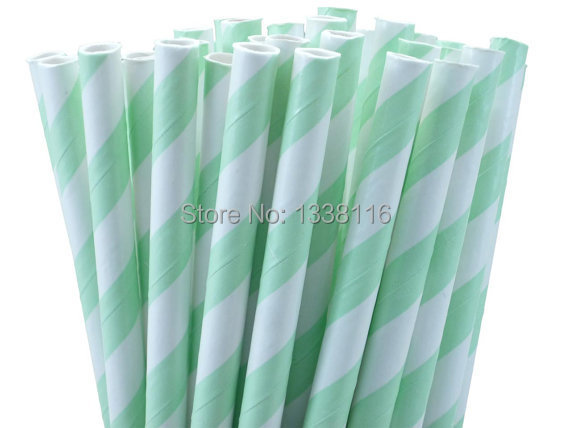 Free Shipping 100pcs Mint Green Striped Paper Drinking Straws,For Birthday Wedding Party Decoration Supplies