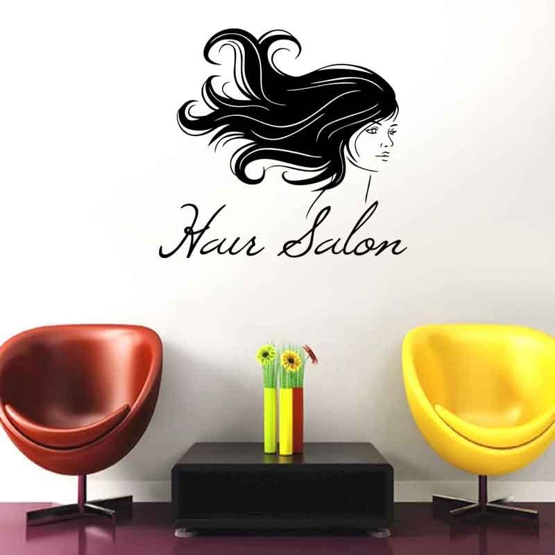 DCTAL Girl Hair Salon Wall Sticker Hairdresser Poster Beauty Barbershop Glass Decal Wall Art Stickers Decal Wall Sticker