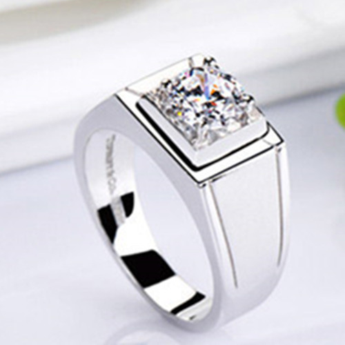 1 Carat White Gold 585 Classic Men s Ring Ashine Synthetic