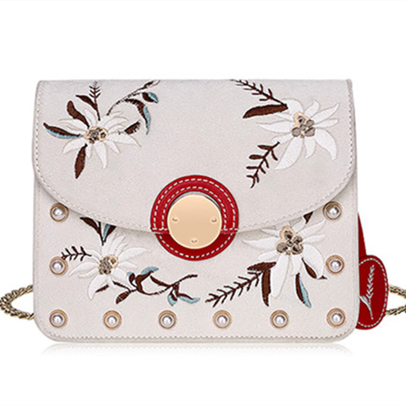 2017 Women Lady Pearl Chains Flowers Gardenia Embroidery Handbags Leather Hand Bags Flap Shoulder Messenger Crossbody Dress Bags a three dimensional embroidery of flowers trees and fruits chinese embroidery handmade art design book