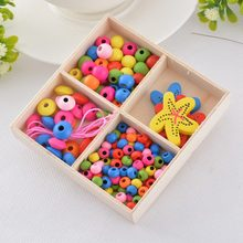 LASPERA 1Set Wooden Beads Kit Multicolor Kindergarten Creative Puzzle 3D Wood Beads For DIY Children Necklace Bracelet Jewelry(China)