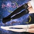 Mujeres de la manera Japonesa Harajuku Kawaii Marinero Luna de cristal gato lindo Impreso falsos medias del muslo femenino de Altura con pantalones