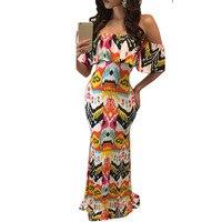 Sexy Strapless Bra Ruffle Flower Printing Off The Shoulder Dresses Brazil Vestido Social KLY0763