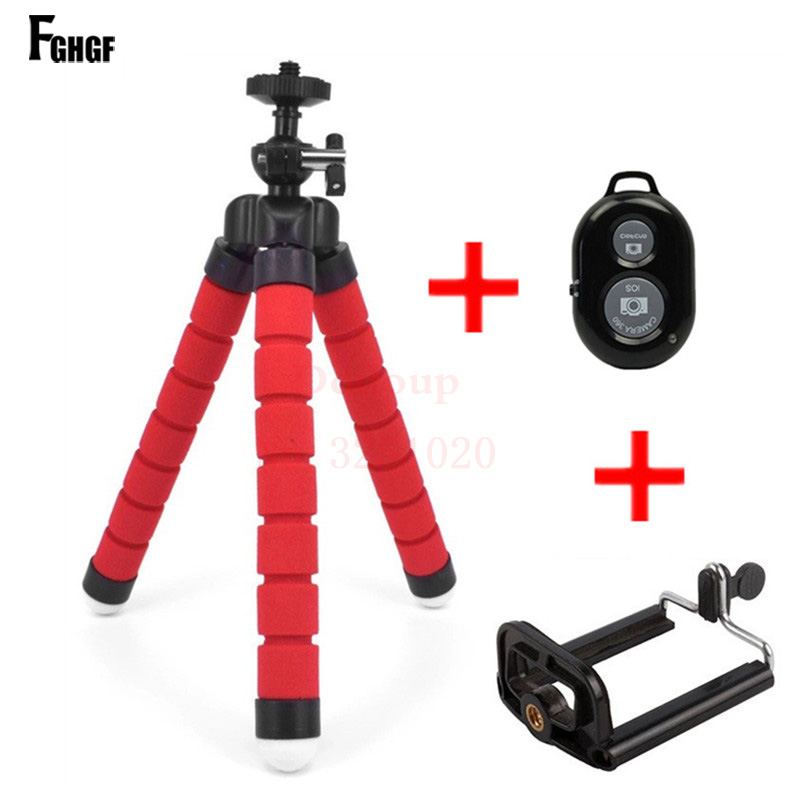 FGHGF Universal Car Mini Flexible Tripod+Bluetooth Remote Shutter For iPhone Mini Portable Selfie phone Stand Clip for redmi 4X(China)