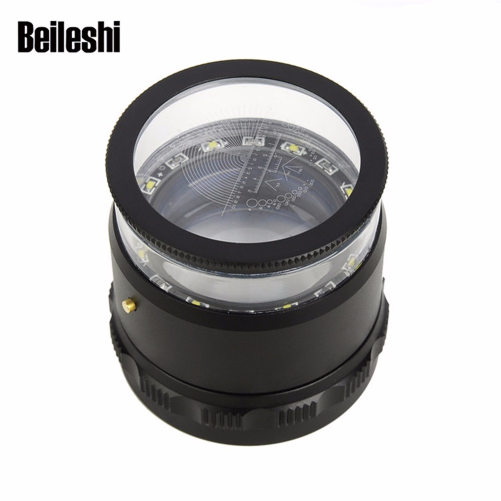 Beileisi HD Magnifier With Led Lights 10X Magnification Loupes Multiscale Magnifying Precision Calibration Lupa Escala Hot 220v 10x desk clip on led illuminated green optical big magnifying glass led lamp folding stand large magnifier with led lights