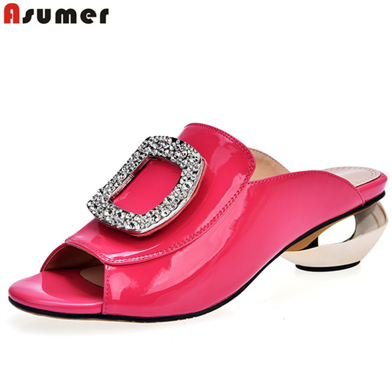 ASUMER Plus size 33-42 New genuine leather women sandals rhinestone round heels summer peep toe ladies party shoes mules womanASUMER Plus size 33-42 New genuine leather women sandals rhinestone round heels summer peep toe ladies party shoes mules woman