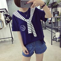 2017 Summer New Fashion Shoulder Strap Removable Short Sleeve Female T Shirt Loose O Neck Women