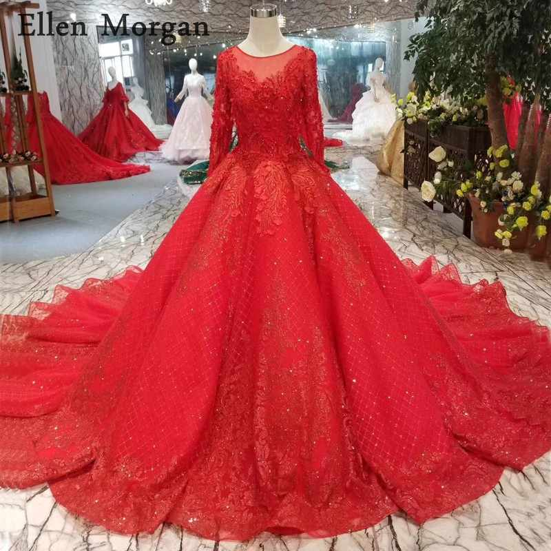 da2ff2b586 Red Glitter Long Sleeves Ball Gowns Wedding Dresses 2019 Beaded Custom Made  Real Photo Puffy Saudi