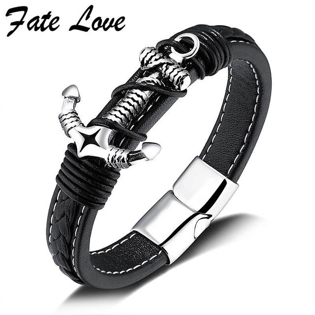 Fate Love Unique Anchor Leather Bracelet Men Jewelry Handmade 2017