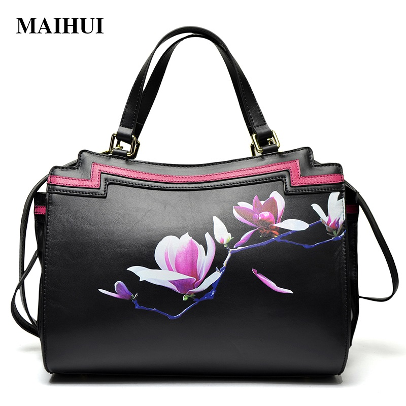 Maihui women leather handbags high quality woman shoulder bags 2017 new national cowhide real genuine leather casual tote bag woman genuine leather handbag large cowhide handbags big tote high quality women s messenger bags shoulder bag