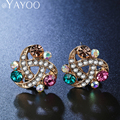 AYAYOO Vintage Imitation Crystal Stud Earring Wedding Ear Jewelry For Women Gold Plated African Beads Accessories Christmas Gift