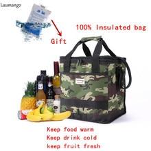 Laumango сумка-холодильник складной изоляции камуфляж большой еды Упаковка пикник мешок Термальность утепленная Водонепроницаемый бенто сумка