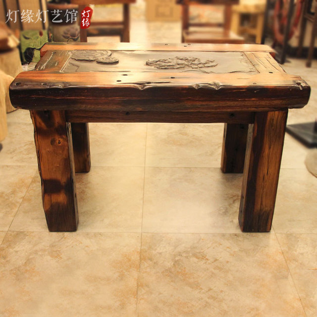 Old Vintage Wooden Boat Wooden Tea Table Yantai Stone Tea Tea Utensils Can  Drain Timber Chinese