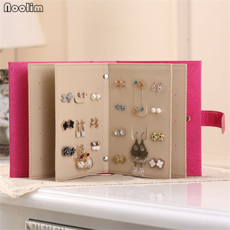 NOOLIM Leather Portable Fashion Women Stud Earrings Collection Necklace Jewelry Book Storage Bag Display Box Earrings Hooks earrings