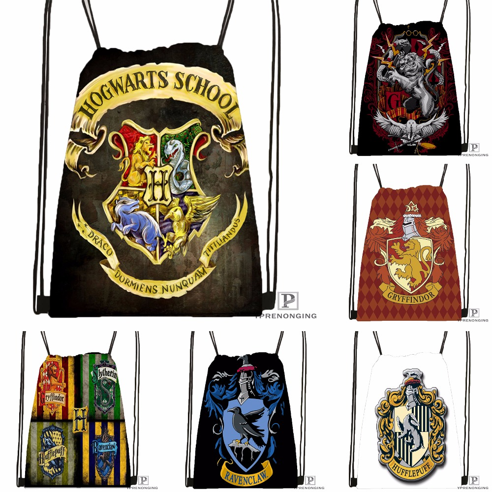 Custom Harry Potter Hufflepuff Drawstring Backpack Bag Cute Daypack Kids Satchel (Black Back) 31x40cm#180531-02-23