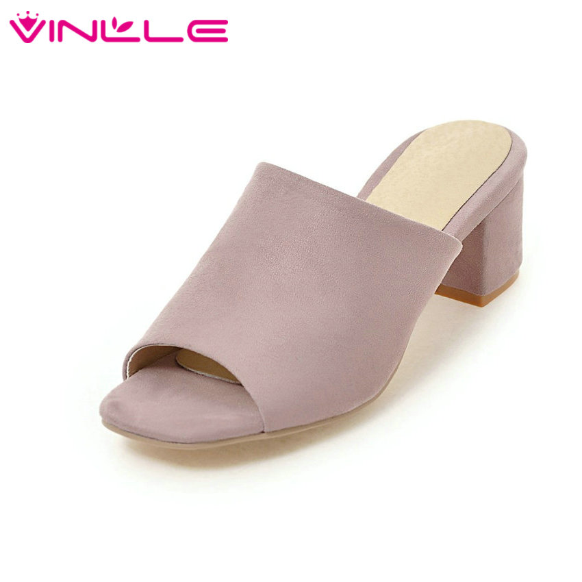 VINLLE 2017 Women Pumps Slingback PU Flock Concise Square High Heel Slip-on Elegant Peep Toe Summer Ladies Shoes Size 34-43 vinlle 2017 women pumps slingback shoes high heels all match pu leather square high heel elegant ladies summer shoes size 34 43