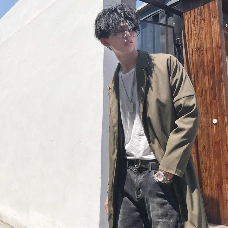 2019 новые весенние Для мужчин модные Повседневное Длинные Свободные Твердые Цвет одежда прилив регулируемый пояс ветровка пальто ветровка мужская M-2XL