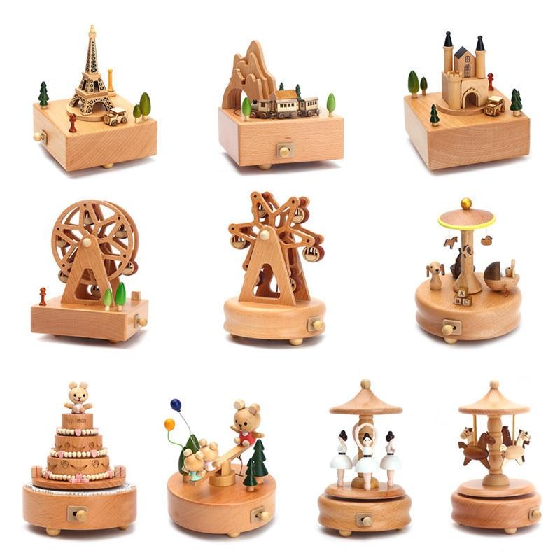 Kawaii Zakka carrusel de cajas de música caja de música de madera artesanía de madera Retro cumpleaños regalo Vintage, decoración para el hogar, accesorios,
