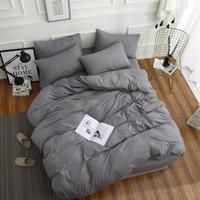 40S High quality family bed four pieces Sets Pure color full cotton 1.2 1.5 1.8M ( sheets + Duvet Cover + 2PC Pillow Case ) C003
