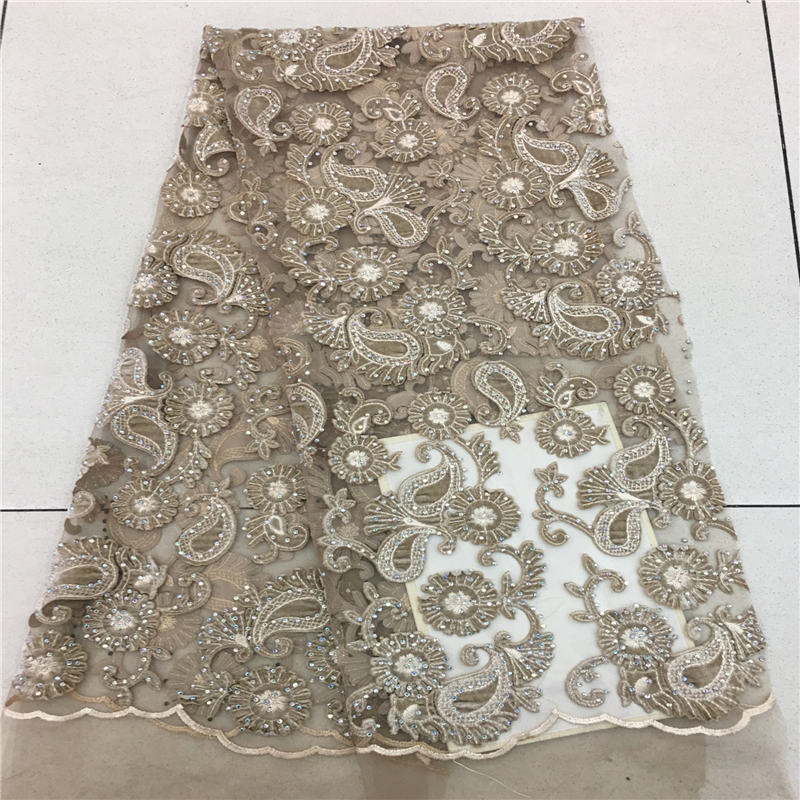 Latest African Velvet Lace Fabric High Quality French Velvet Lace Fabric Gold Embroiery Tulle Lace Fabric