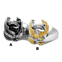 Wholesale Live To Ride Eagle Biker Ring Stainless Steel Ring Jewelry Silver Gold Classic Motor cycles Biker Men Ring SWR0005A
