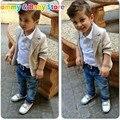 Conjunto de Roupas meninos Jaqueta + camiseta + Calça Jeans 3 pcs Terno criança 2016 Outono Meninos Roupas de Algodão Crianças de Alta Qualidade conjuntos