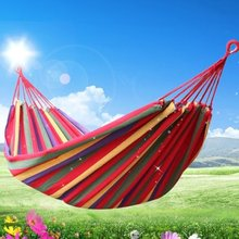 Portable Garden Canvas Hammock Canvas Bed Camping Hanging Porch Backyard Indoor Outdoor Swing Red(China)