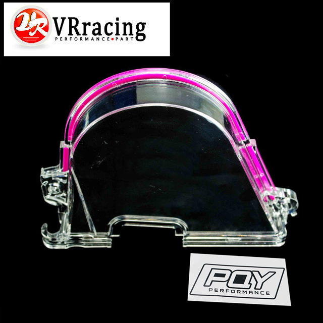 VR RACING - CLEAR CAM GEAR TIMING BELT COVER TURBO CAM PULLEY FOR HONDA CIVIC 96-00 D15 D16 VR6337 blox racing 2pcs adjustable cam gear pulley cam pulley set for honda civic integra d16a sohc 96 00 inlet and exhaust ep cgd16bl