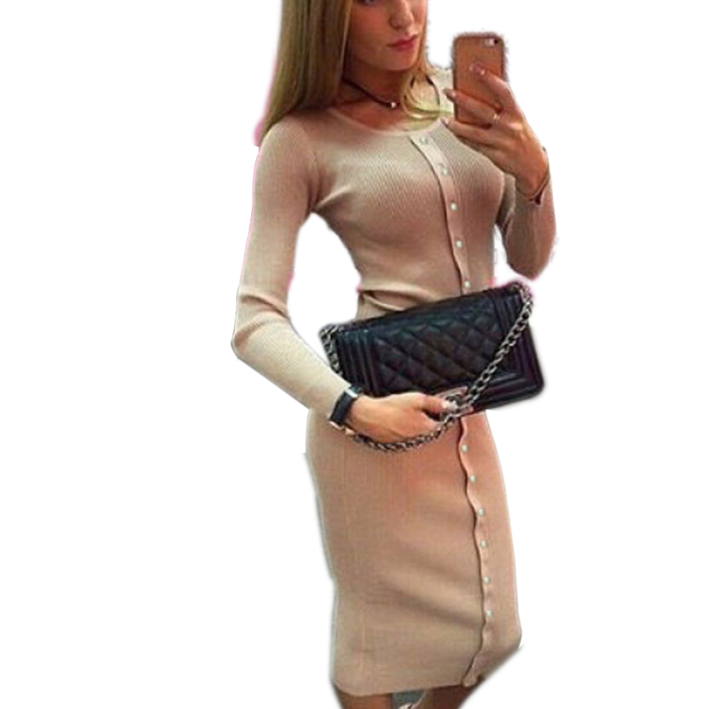 Women Knitted Buttons Dresses Autumn Winter Dress 2019 Robe Knee-Length  O-neck Package hip Sheath Bodycon  LX062
