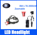 Head Red CREE XM-L T6 LED Headlamp 2000LM 4 Modes Lantern Lamp Bike Headlight+2*18650 Rechargeable Battery+Car/DC Charger