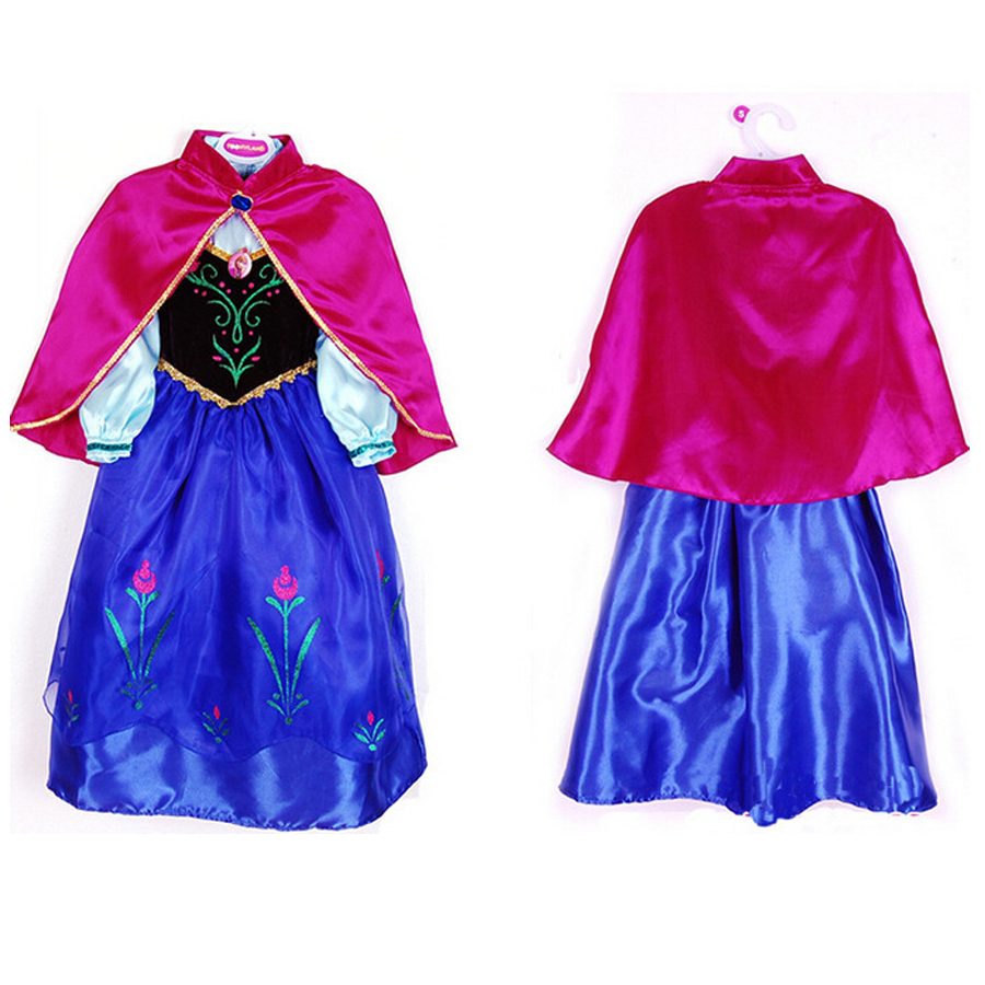 Naughtykids' favorite Anna Elsa Dresses For Girls Snow Queen Winter Party Birthday Christmas Kids Dress Shawl Wedding Princess Evening Costumes