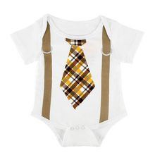 Summer Newborn Baby Boy Gentleman Jumpsuit Romper Suspenders Tie Print Short Sleeve Playsuit Cotton Infant Kids Outfit Clothes