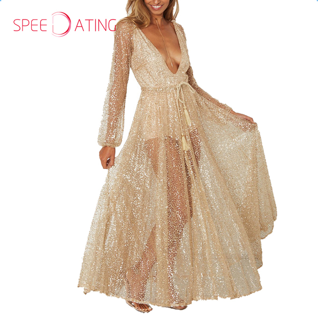 3da294129a65 Sexy Deep V Neck Sequin See Through Maxi Dresses Ankle Length A-line Gold  Long Sleeves Women Party Event Dresses SPEEDATING