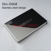 Free shipping Slim Mobile HDD External Hard Drive 250G Wholesale Price 2.5'' Portable Hard Disk USB2.0 Stainless steel design