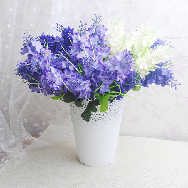 5Heads Silk Hyacinth Artificial Flowers Bouquet Large Lavender Simulation Flores Valentine\'s Day Party Home&Wedding Decoration-in Artificial & Dried ...