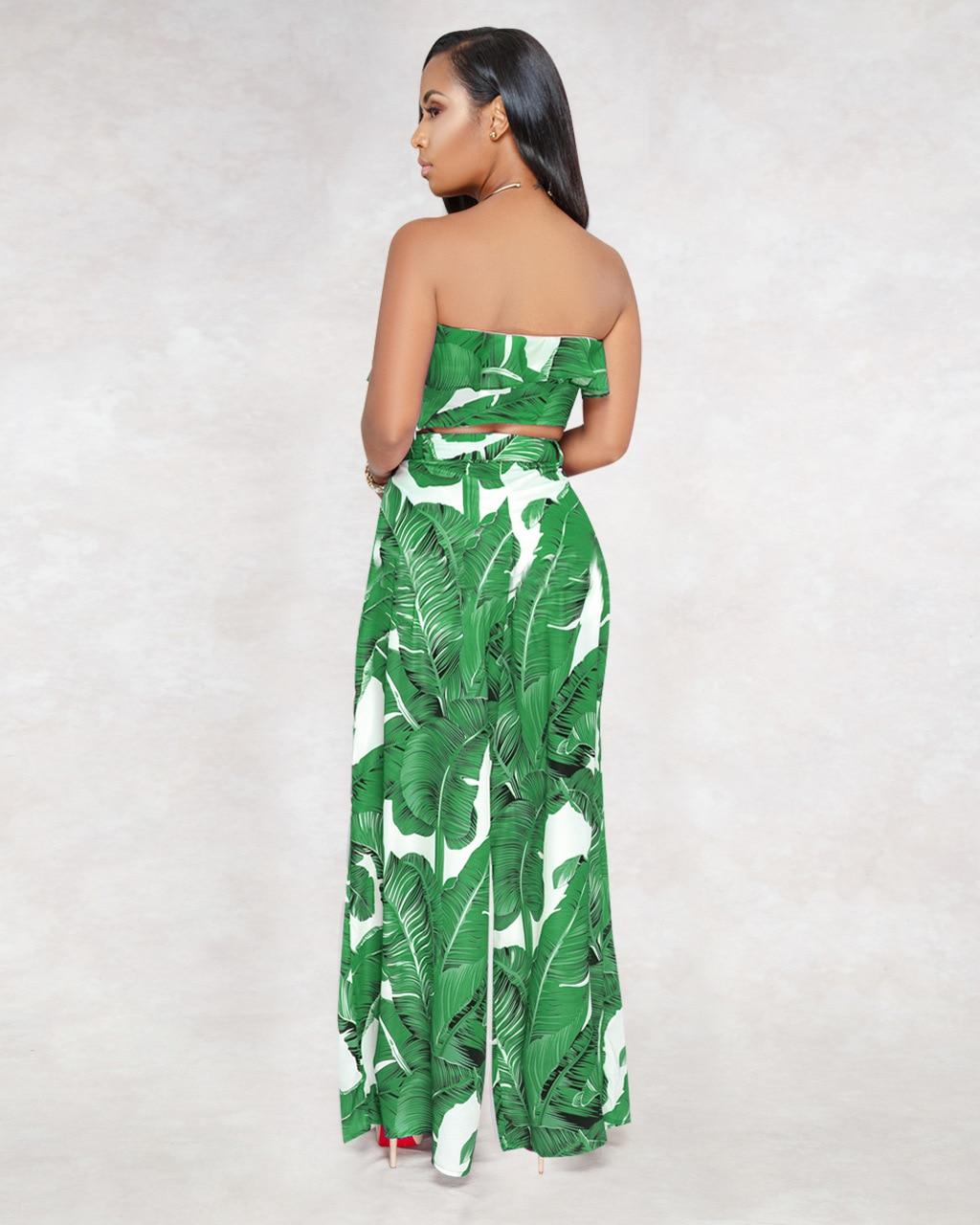 04c2b02ef0a Strapless Backless Sexy Jumpsuit Clubwear Women Summer Palm Leaf ...