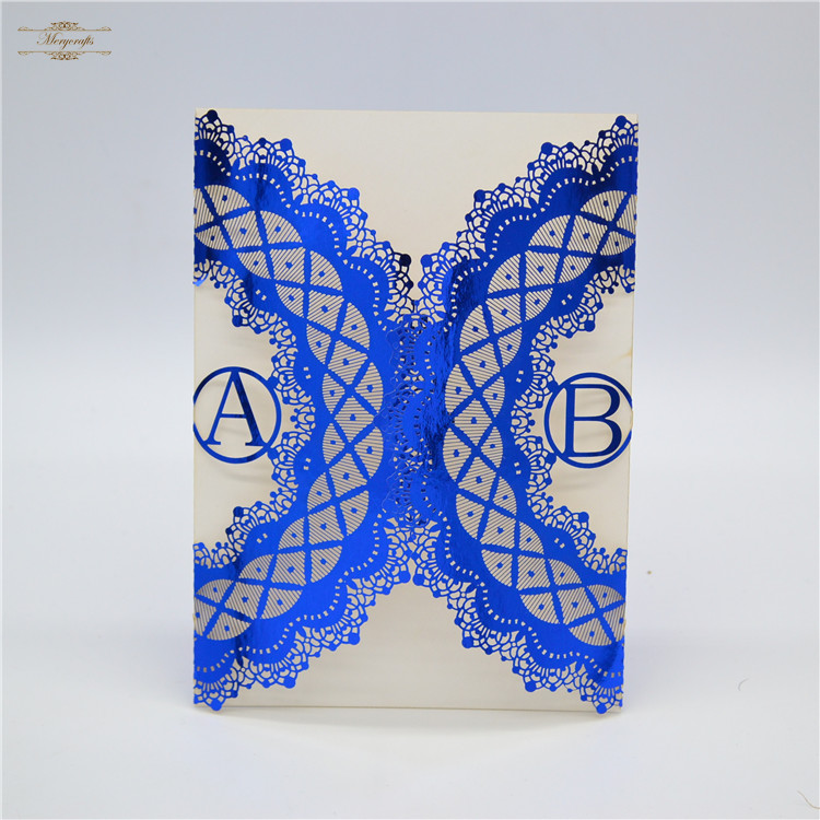 Personalised initials laser cut royal blue hardcover