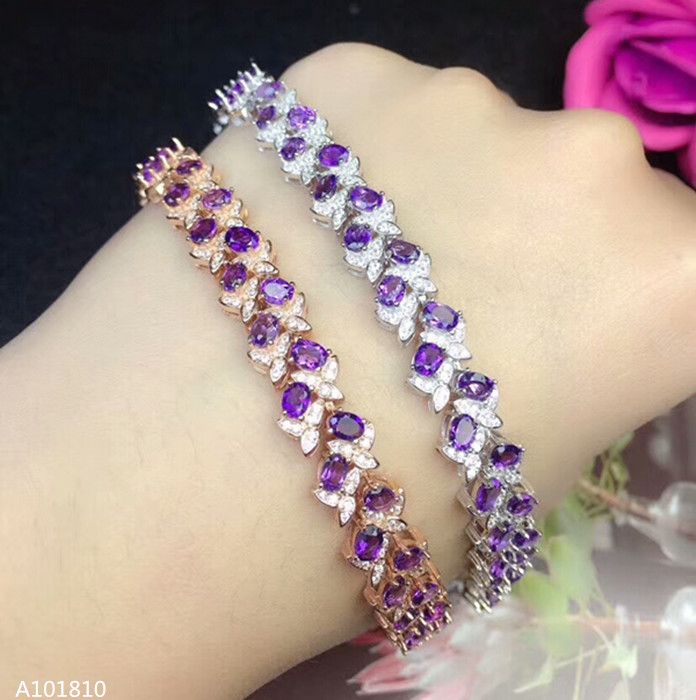 KJJEAXCMY fine jewelry 925 pure silver inlaid Natural Amethyst Bracelet support testKJJEAXCMY fine jewelry 925 pure silver inlaid Natural Amethyst Bracelet support test