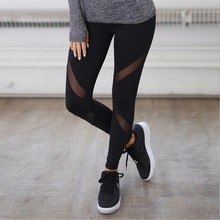 Women Casual Leggings Fitness Winter Jeggings New Arrival Ladies Elastic Waist Color Pants Block Mesh Insert Leggings 6012 3002 cheap VELOUR YANXIN Patchwork Spandex Bamboo Fiber Polyester Thin High Ankle-Length Sexy Club