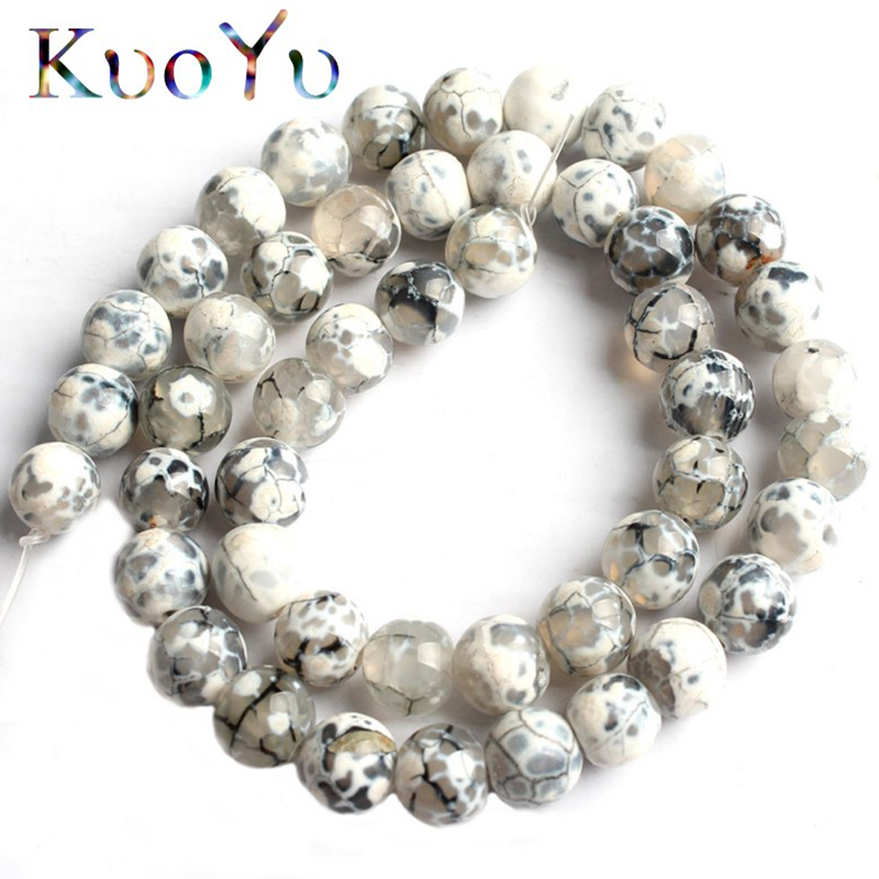Natural Stone White Fire Agates Onyx Round Loose Beads For Jewelry Making 15'' Strand 6/8/10mm Pick Size DIY Bracelets Necklaces