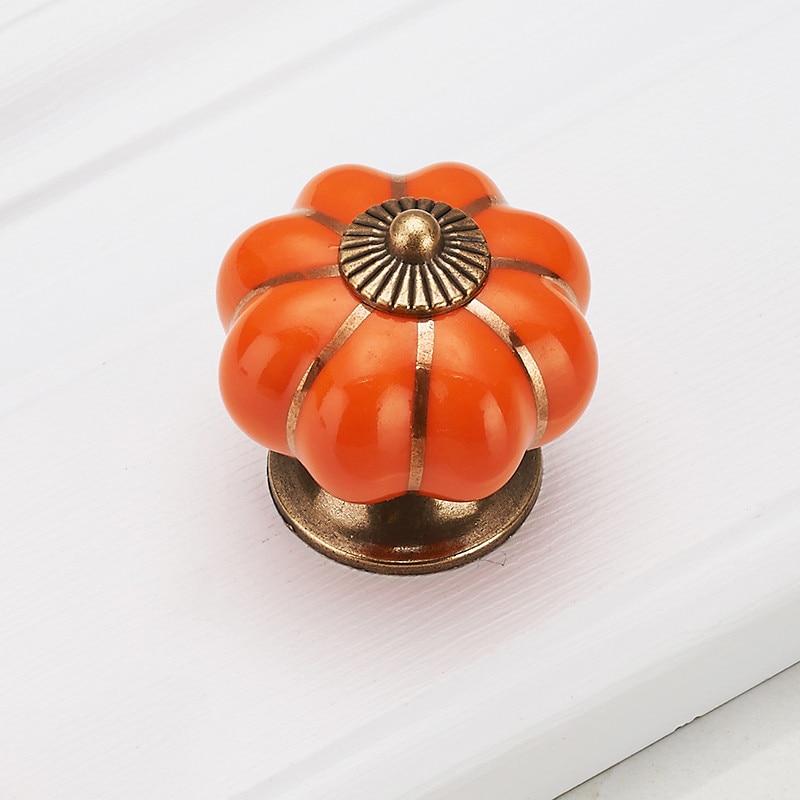 KAK Pumpkin керамические ручки 40 мм ручки для ящиков Ручки для дверей шкафа ручки для шкафа с одним отверстием с винтами мебельные ручки - Цвет: Orange