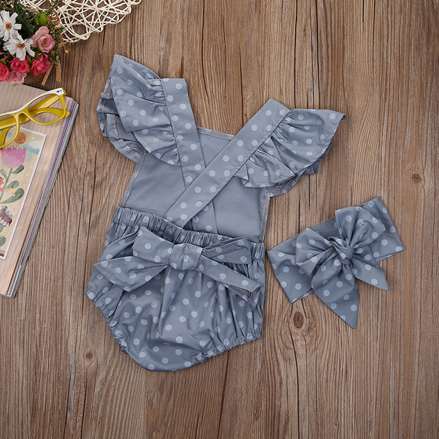 Cute Newborn Baby Girls Clothes Summer Rompers Ruffle Polka Dots Sleeveless One Piece Jumpsuit with Headband Cotton Sunsuits