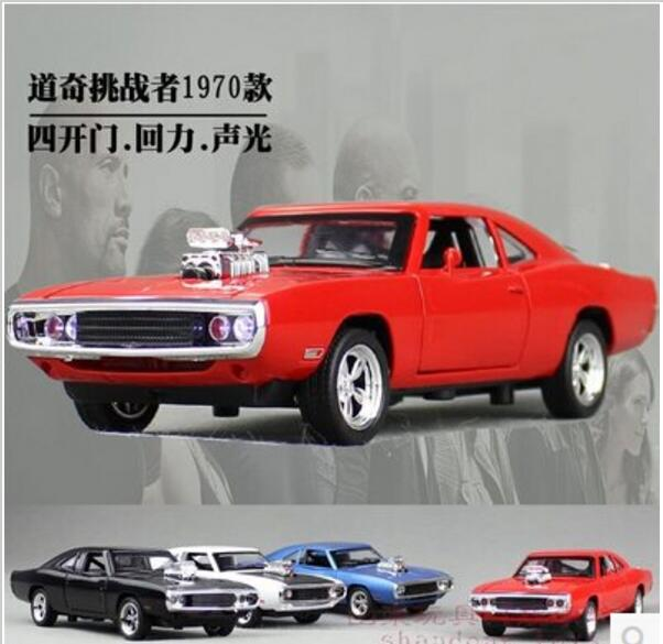 1970 dodge chargers rt fast furious 132 car model kids toy diecast pull back light sound mustang challenger sports car gift