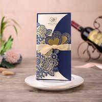 1 stücke Blau Probe Laser Cut Hochzeit Einladungen Karte Rose Liebe Herz Grußkarten Anpassen mit Band Hochzeit Partei Liefert