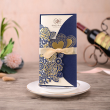 1pcs Blue Sample Laser Cut Wedding Invitations Card Rose Love Heart Greeting Cards Customize with Ribbon Party Supplies
