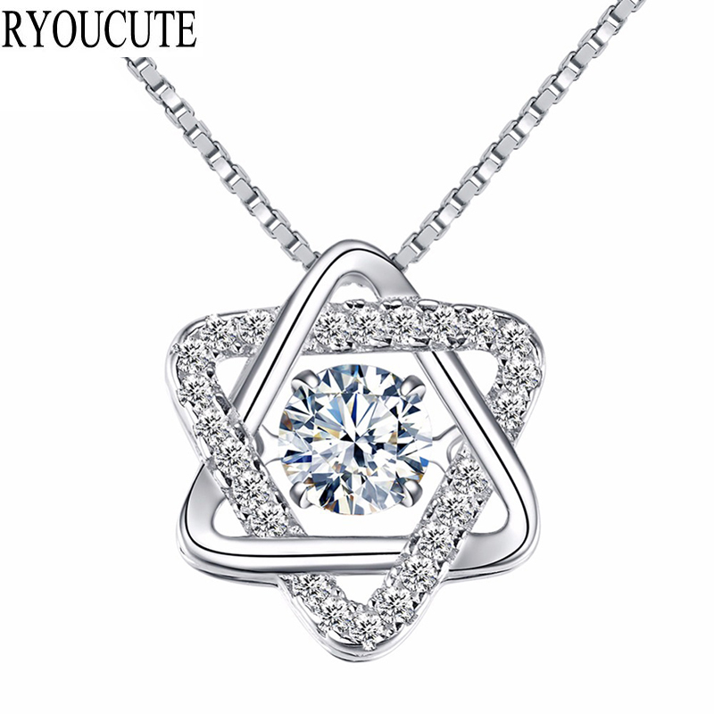 RYOUCUTE Crystal David Star 925 Sterling Silver Necklaces for Women Gift Boho Jewelry Fashion Statement Long Stone Necklace 2019