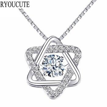 Ryoumignon cristal David Star 925 colliers en argent Sterling pour les femmes cadeau Boho bijoux déclaration de mode Long collier en pierre 2019